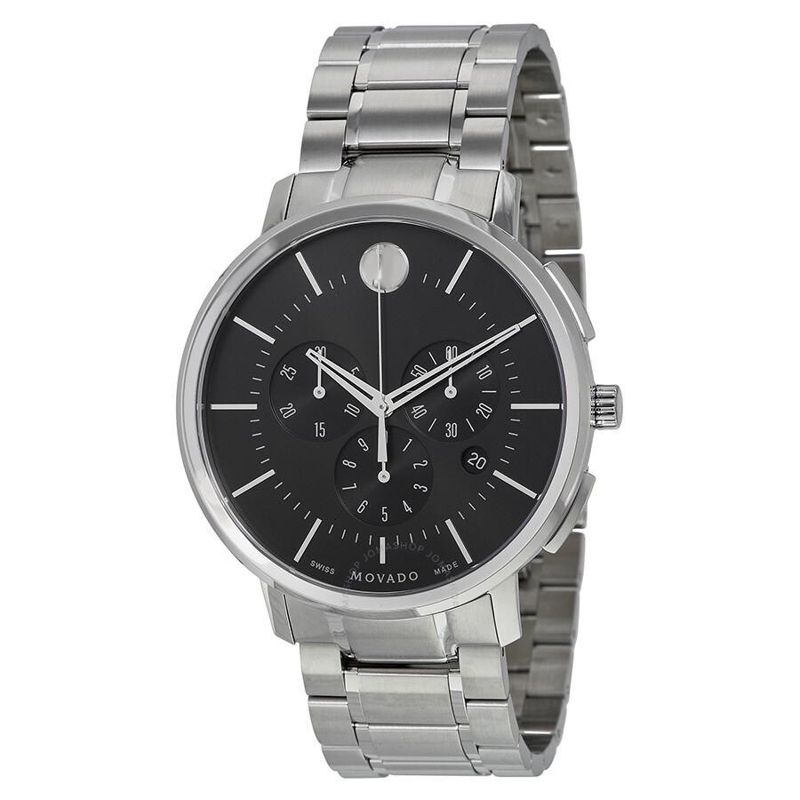 0df5ac9dc Movado Ultra-Thin Chronograph Black Soleil Dial Men's Watch 0606886 ...