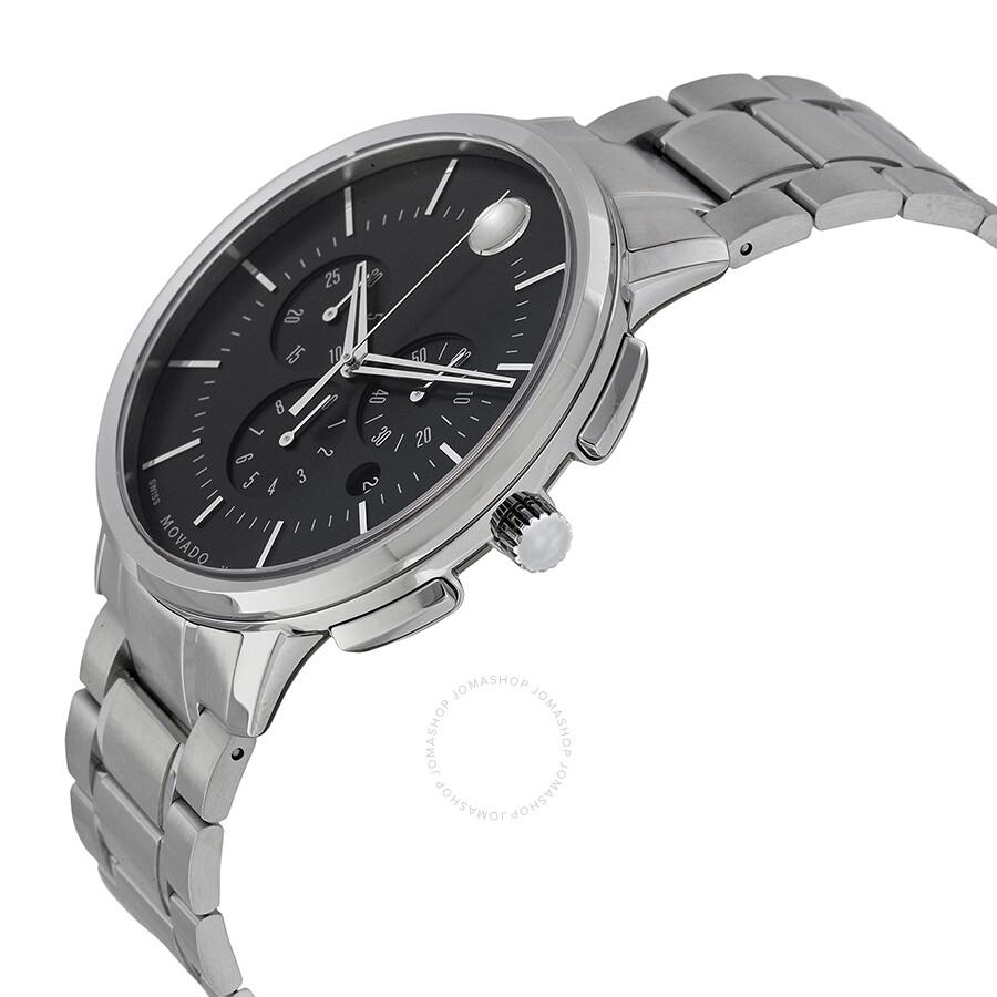 3296f6dbe ... Movado Ultra-Thin Chronograph Black Soleil Dial Men's Watch 0606886 ...