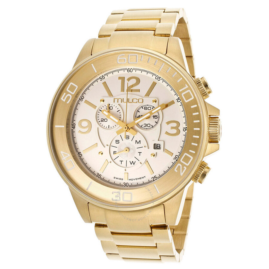 mulco silver chronograph gold tone stainless steel
