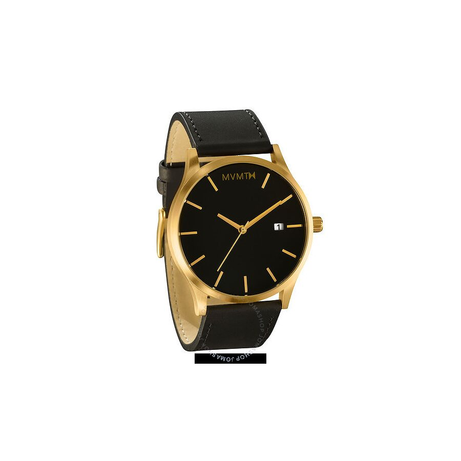 Mvmt classic black dial men 39 s casual leather watch mm01 bgl mvmt watches jomashop for Wacthes mvmt