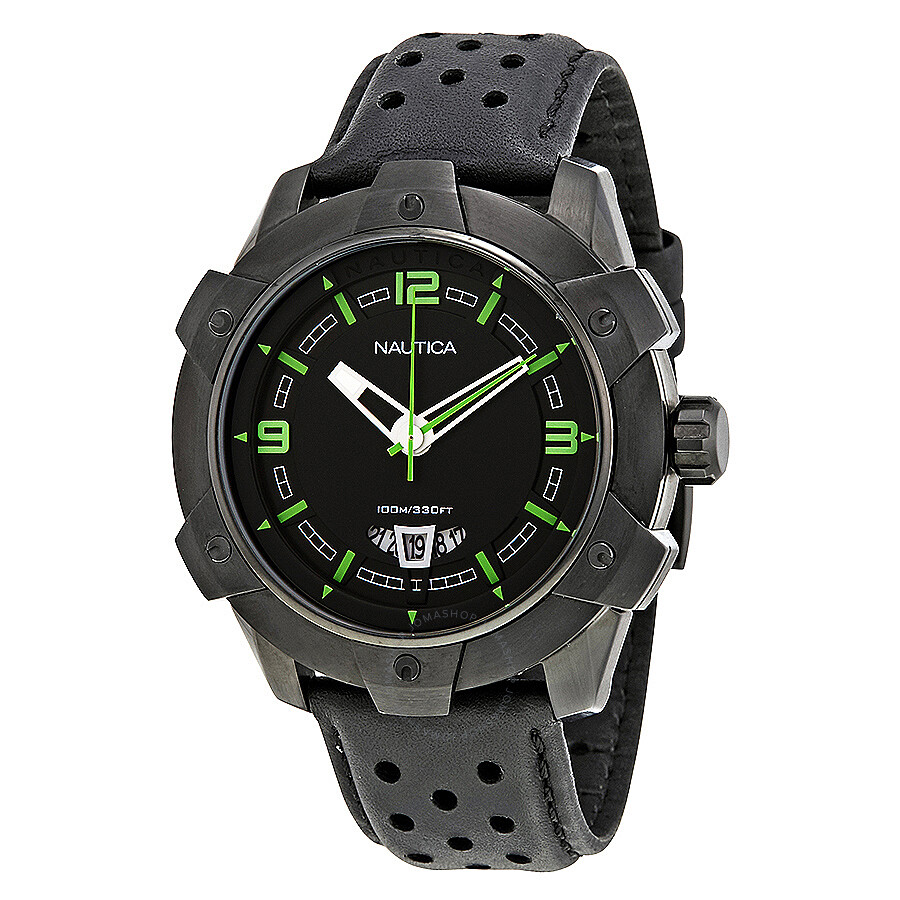 9c1916e04b5 Nautica Black Dial Black Leather Men s Watch A35516G .