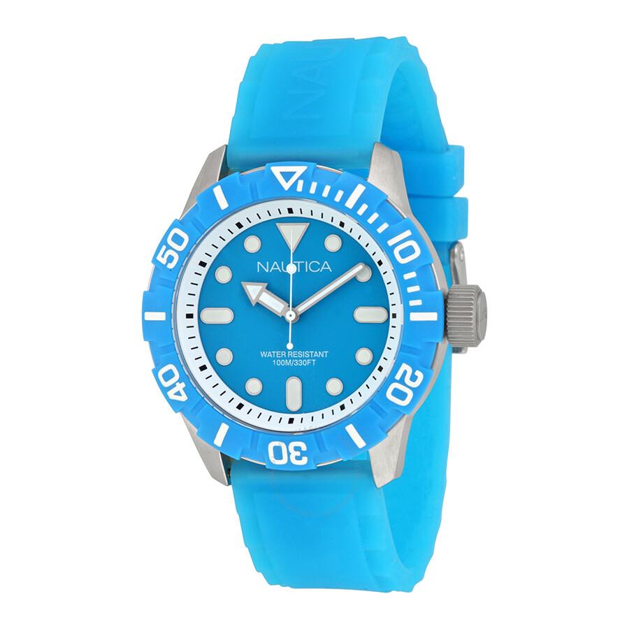 Nautica blue dial aqua silicone rubber unisex watch a09602g nautica watches jomashop for Aqua marine watches
