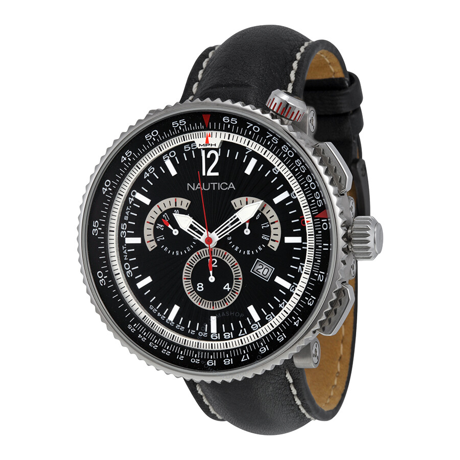 Nautica Chronograph Black and Silver Dial Black Leather Watch A37501G ... 9c704b7fdf165