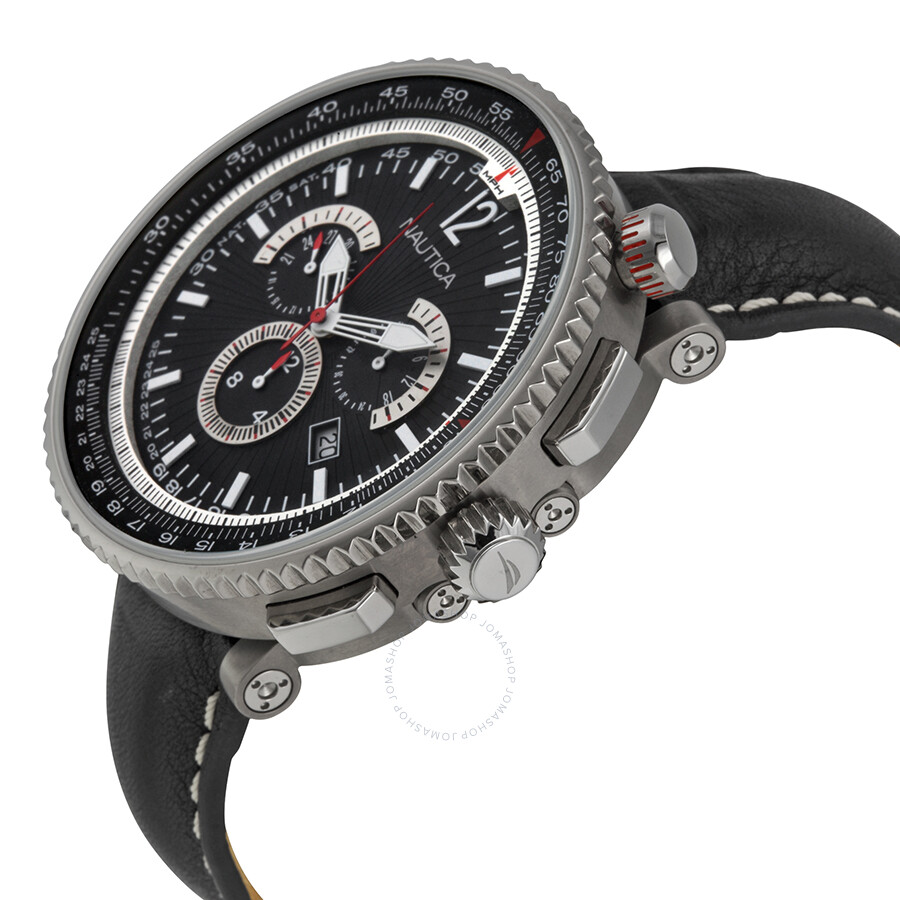 de9cf29d774 ... Nautica Chronograph Black and Silver Dial Black Leather Watch A37501G  ...