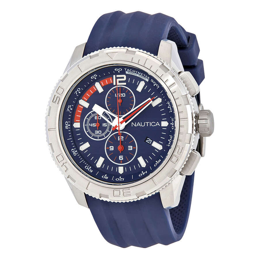 f0d0421ddf6 Nautica NST 101 Chronograph Navy Blue Dial Men s Watch A18724GS ...
