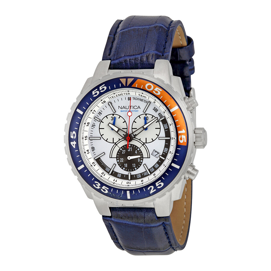 a3cba25d1bb Nautica NST 700 White Dial Chronograph Blue Leather Men s Watch N14679G ...