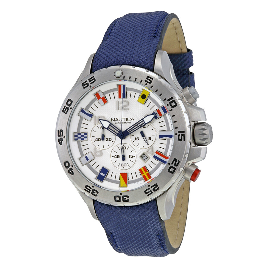 bcedc305a15 Nautica NST Chronograph White Dial Blue Resin Men s Watch Item No. N24513G