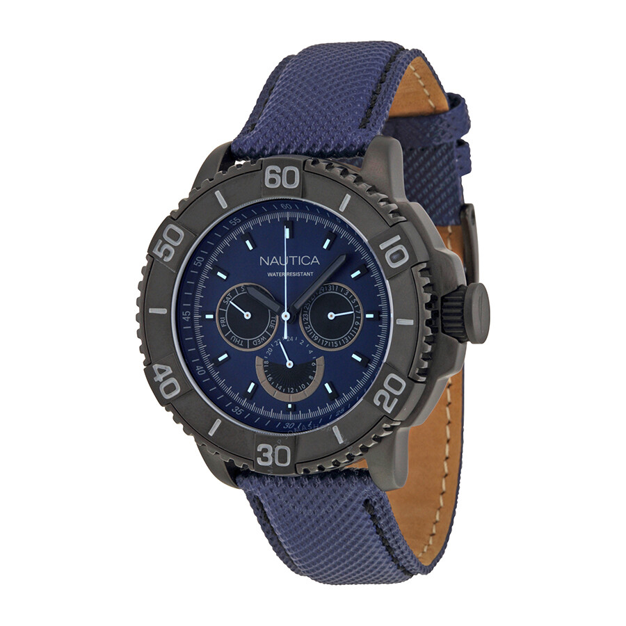 c4d6ccc2722 Nautica NST Multi-function Nacy Blue Dial Navy Blue Leather Men s Watch  Item No. A18644G