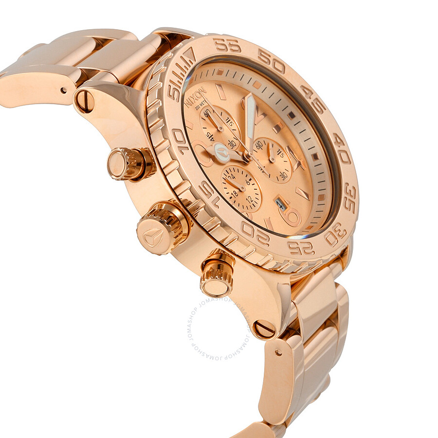 Nixon 42-20 Chronograph Rose Dial Rose Gold-tone Men's ...