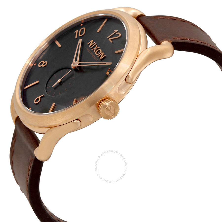 Nixon C45 Brown Leather Rose Gold-Tone Men's Watch ...