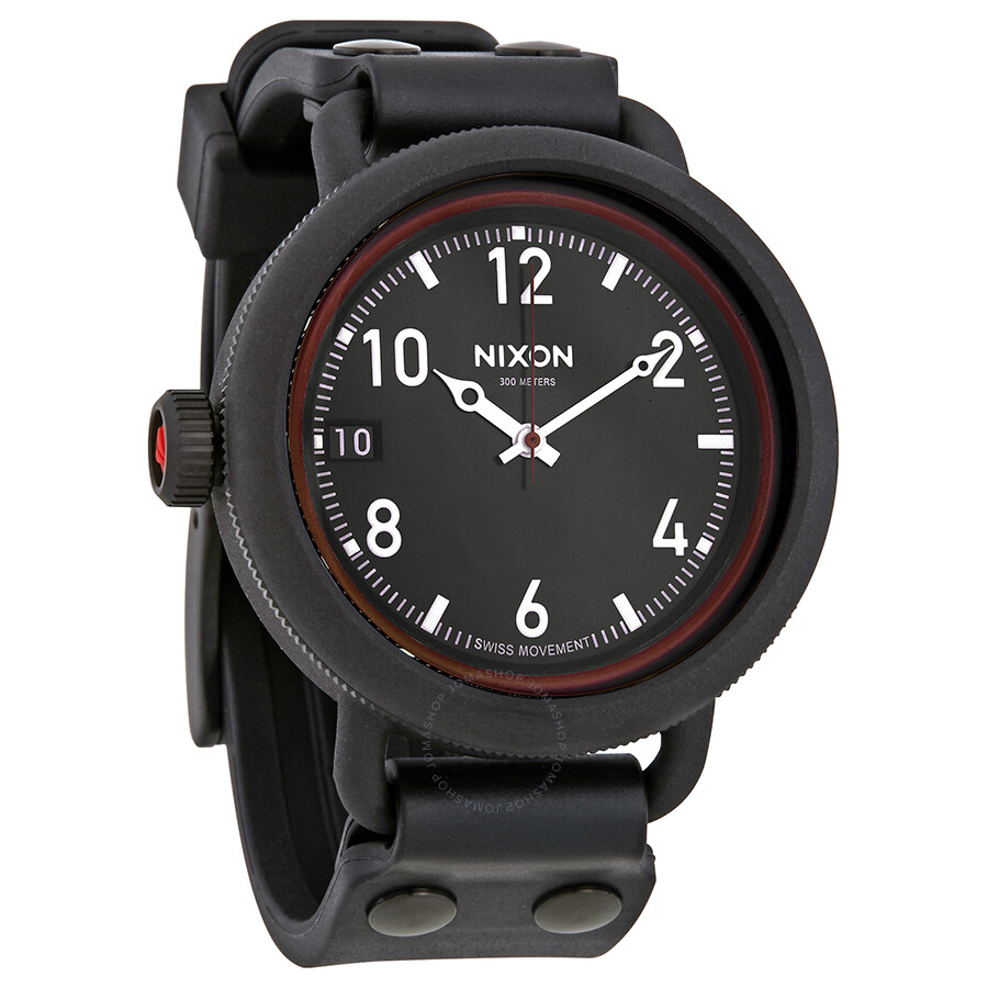 Nixon october black dial men 39 s rubber watch a488760 nixon watches jomashop for Rubber watches