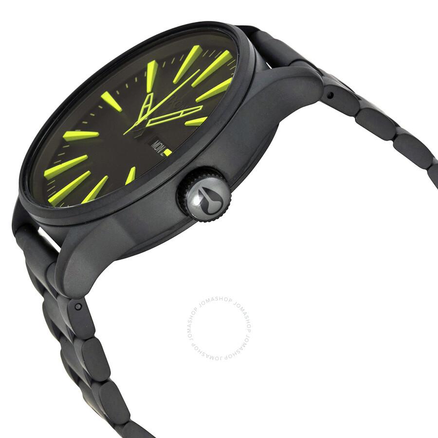 nixon sentry black and luminous dial black ip stainless steel nixon sentry black and luminous dial black ip stainless steel men s watch a3561256