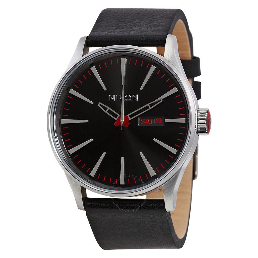 nixon sentry black black leather s