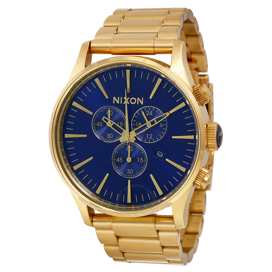 nixon sentry chronograph blue sunray gold tone s