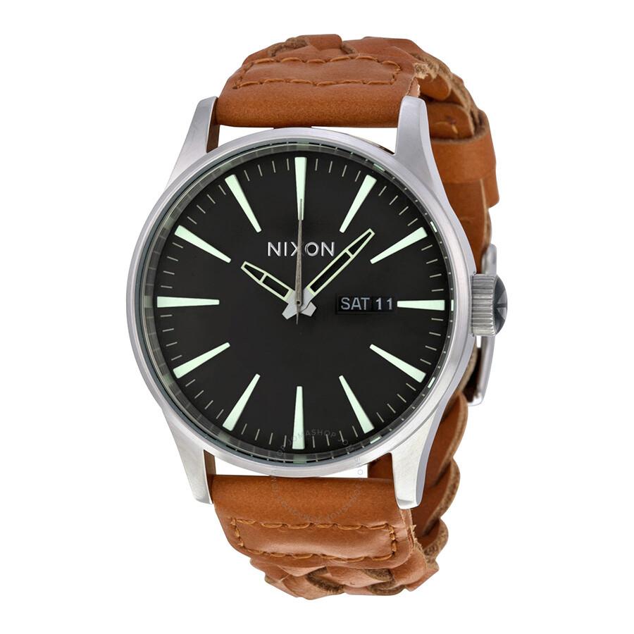 nixon sentry copper brown woven leather s