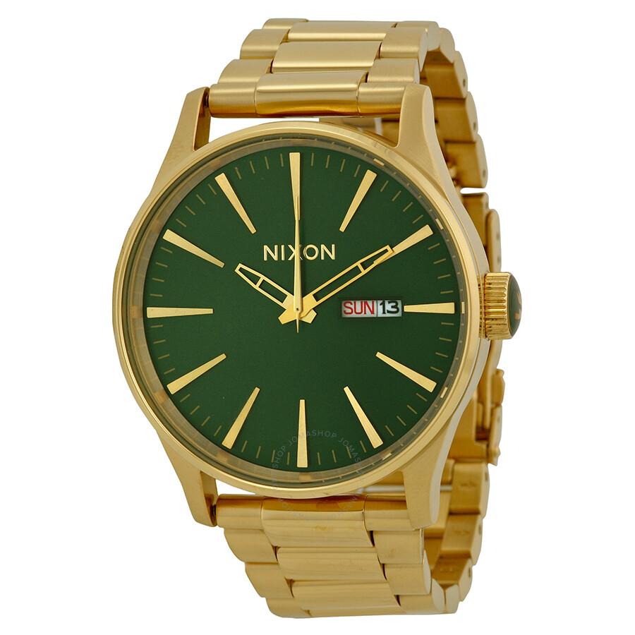 f1550719084 Nixon Sentry SS Green Dial Gold-plated Men s Watch A3561919 - Nixon ...