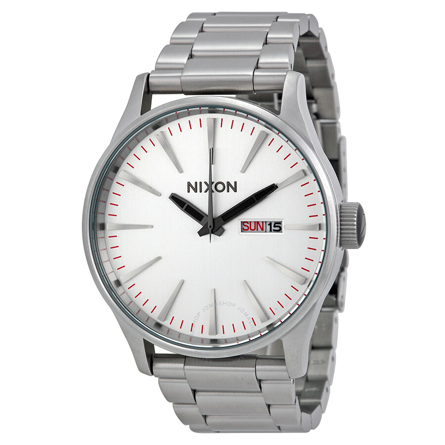 a188a65fc7c Nixon Sentry SS Silver Dial Stainless Steel Men s Watch A356130 ...