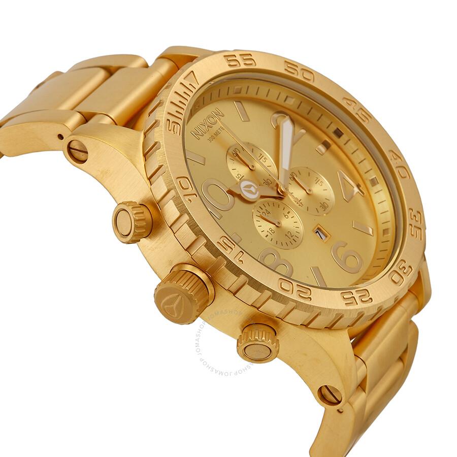 Nixon Chronograph 51 30 Gold Tone Bracelet WatchLeather Name Bracelets 90399f33a1