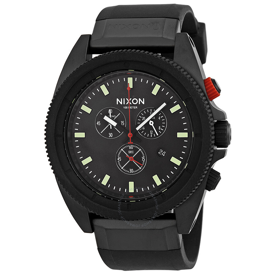 nixon watches jomashop nixon the rover chronograph all black red men s watch