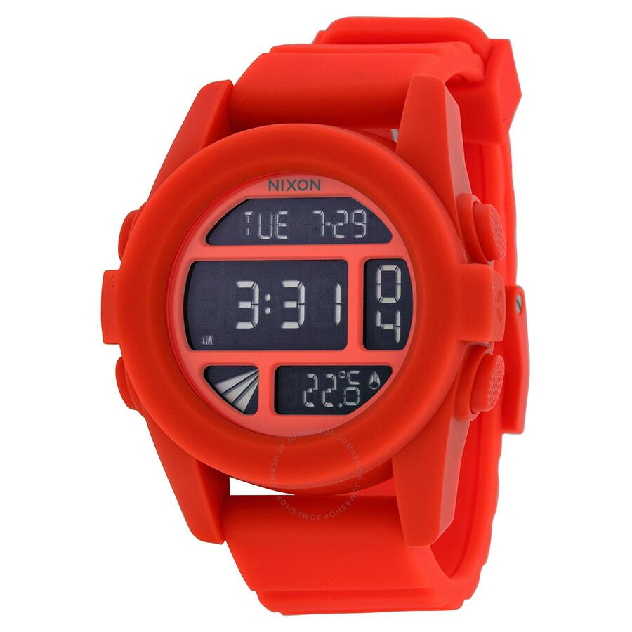 nixon the unit orange rubber digital s a1971156