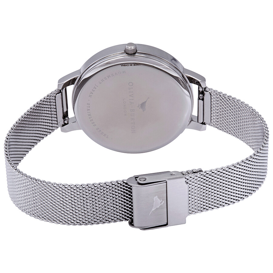 4e412fe1f ... Olivia Burton Big Silver Dial Stainless Steel Mesh Ladies Watch  OB16BD104