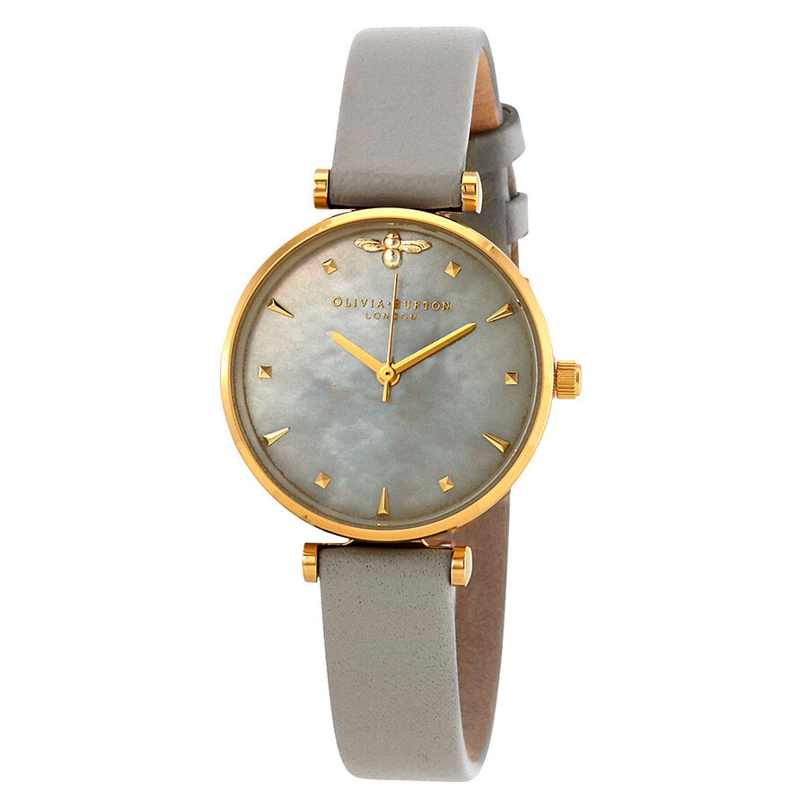 Olivia Burton Queen Bee Grey Mother of Pearl Dial Ladies Watch OB16AM154 ... 9b85f9ddf3