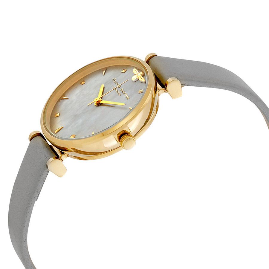 Olivia burton queen bee grey mother of pearl dial ladies watch ob16am154 olivia burton for Mother of pearl dial watch