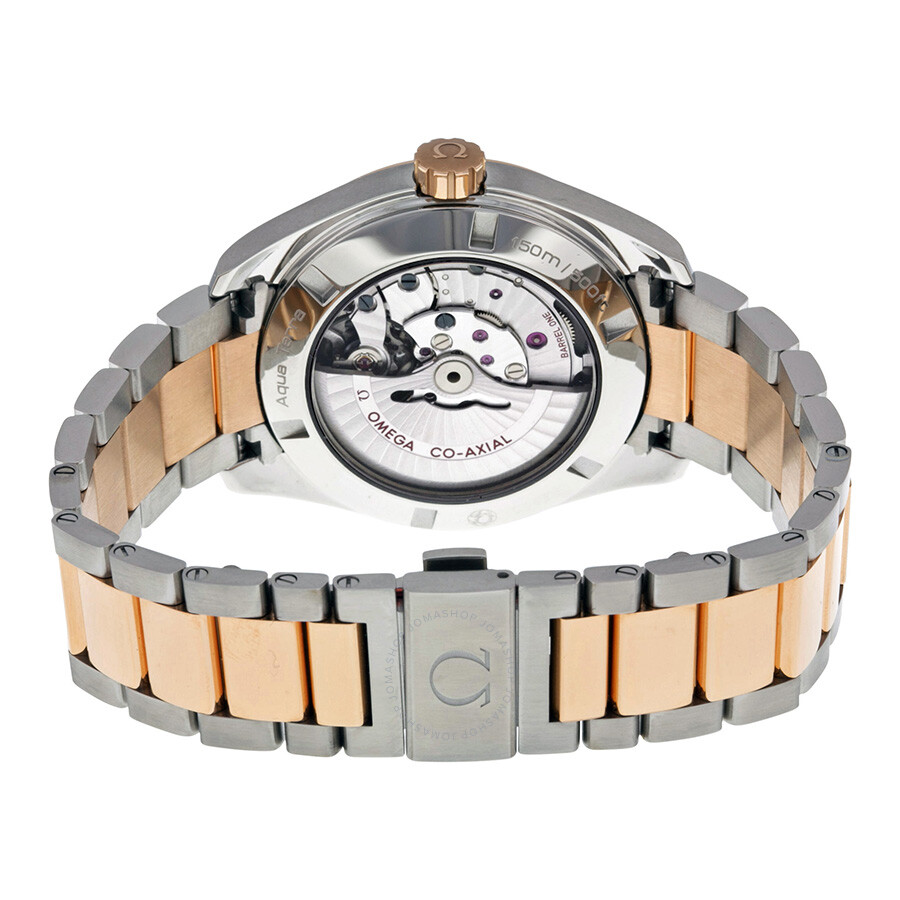 Omega aqua terra brown dial steel and 18kt rose gold automatic men 39 s watch 23120422206001 for Aqua marine watches