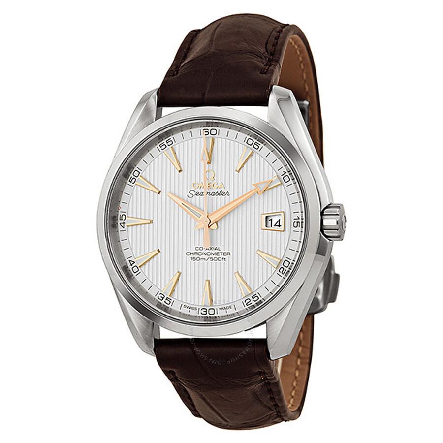 Omega aqua terra silver dial brown leather men 39 s watch 23113422102002 seamaster aqua terra for Aqua marine watches