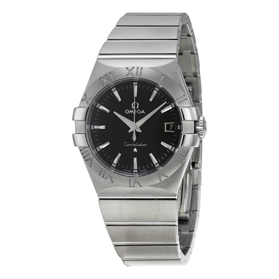 Omega constellation 09 quartz black dial men 39 s watch constellation omega for Omega watch constellation