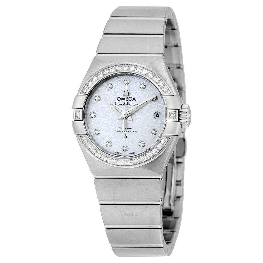 Omega constellation mother of pearl dial stainless steel automatic ladies watch 12315272055003 for Omega watch constellation