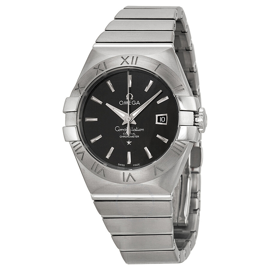 Omega constellation black dial stainless steel diamond automatic ladies watch for Omega watch constellation