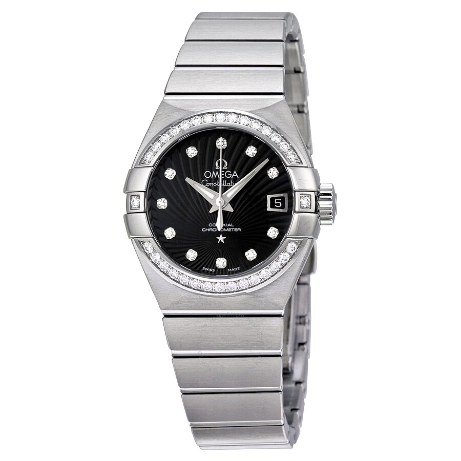 Omega constellation chronometer automatic diamond ladies watch for Omega watch constellation