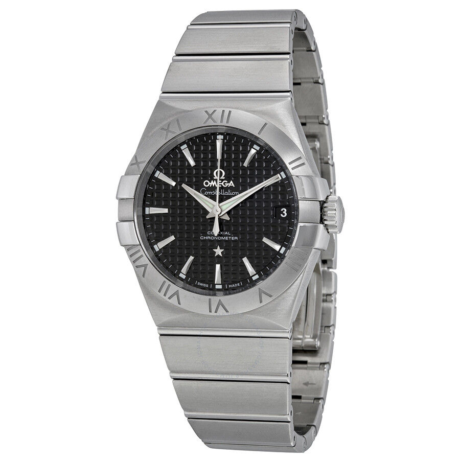 Omega constellation black dial stainless steel men 39 s watch constellation for Omega watch constellation