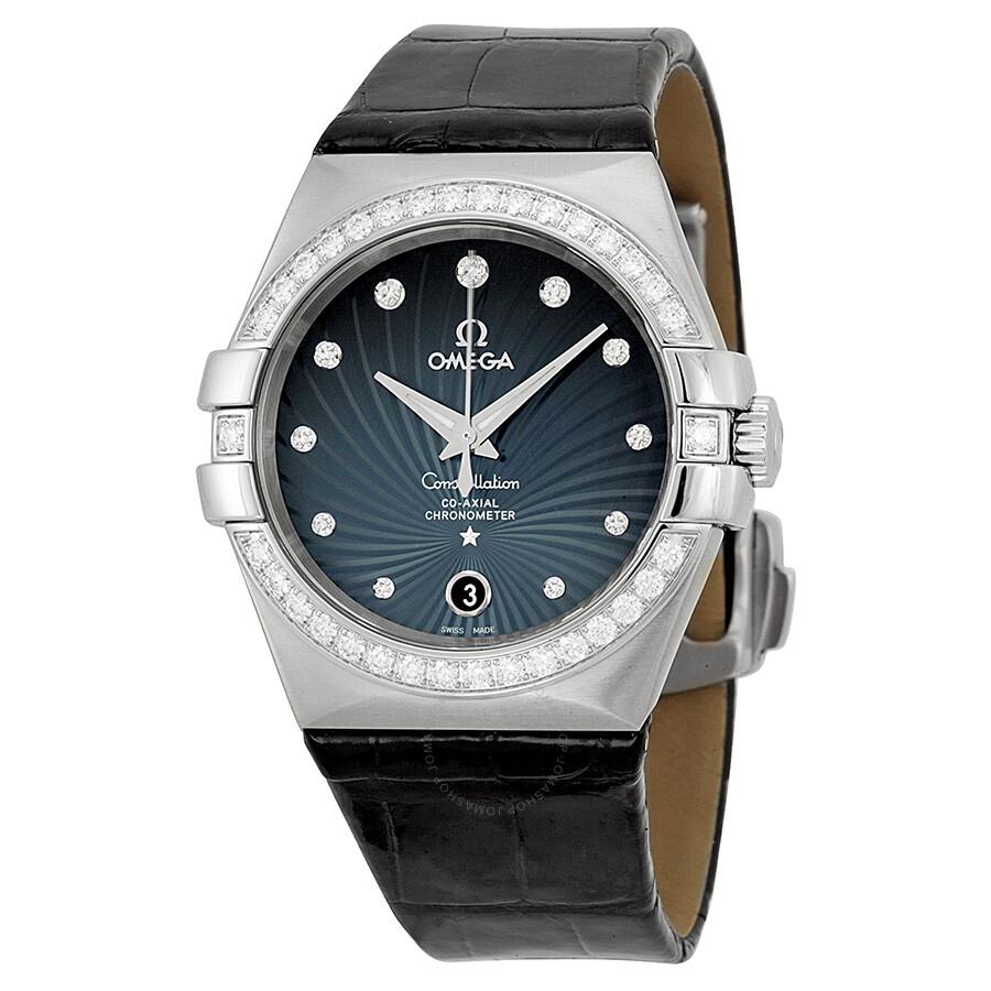 Omega constellation blue diamond dial black leather men 39 s watch 12318352056001 constellation for Omega watch constellation