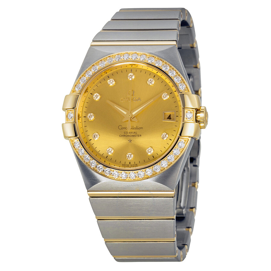 omega constellation chagne steel and 18kt yellow