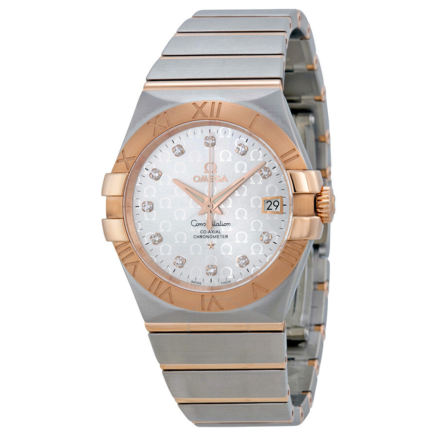 Omega constellation chronometer automatic silver dial 18kt gold and stainless steel ladies watch for Omega watch constellation