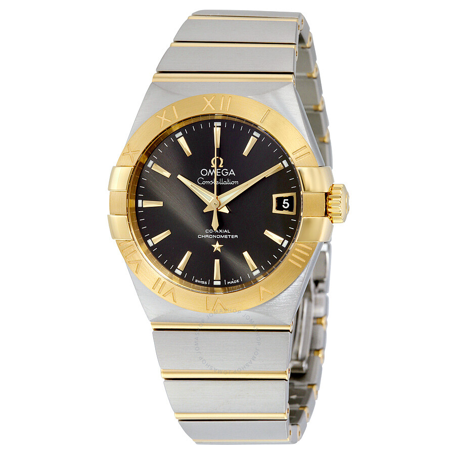 Omega constellation co axial grey dial stainless steel with yellow gold men 39 s watch for Omega watch constellation