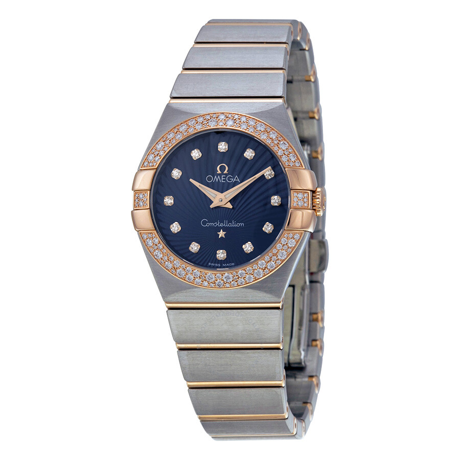 Omega Constellation Diamond Blue Dial Rose Gold and Steel Ladies Watch  123 25 27 60 53 001