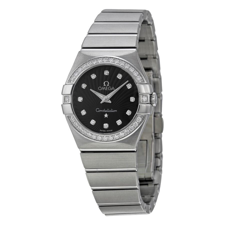 Omega constellation black diamond dial ladies watch constellation omega for Omega watch constellation