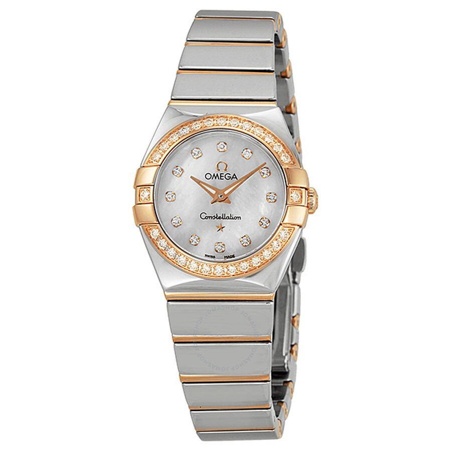 Omega constellation diamond mother of pearl dial ladies watch 12325246055005 constellation for Mother of pearl dial watch