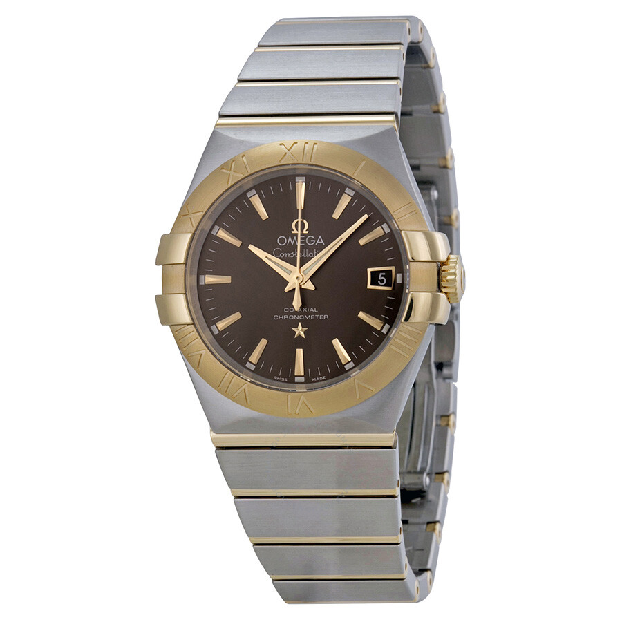 Omega constellation grey dial steel and 18kt yellow gold men 39 s watch for Omega watch constellation