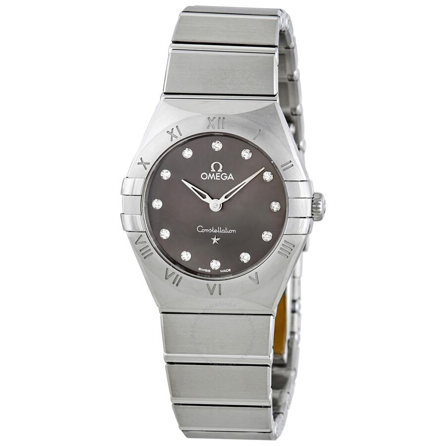 Omega Constellation Manhattan Quartz Diamond Grey Dial Ladies Watch 131 10 28 60 56 001