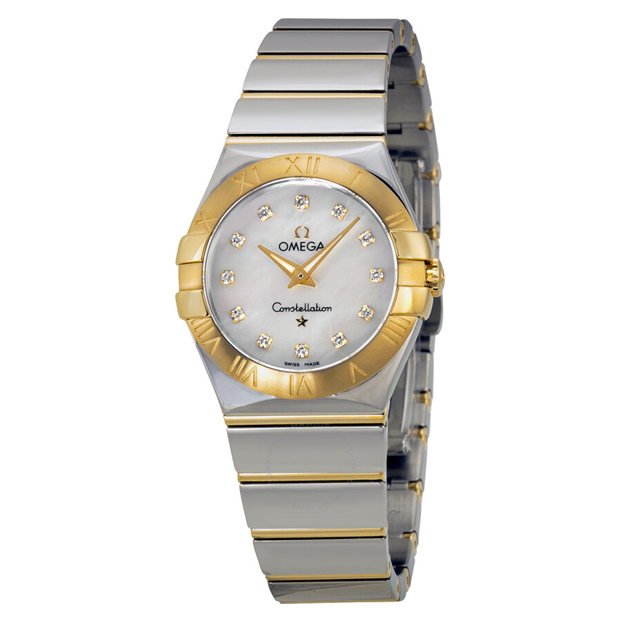 Omega constellation mother of pearl diamond steel and yellow gold ladies watch 12320276055004 for Omega watch constellation