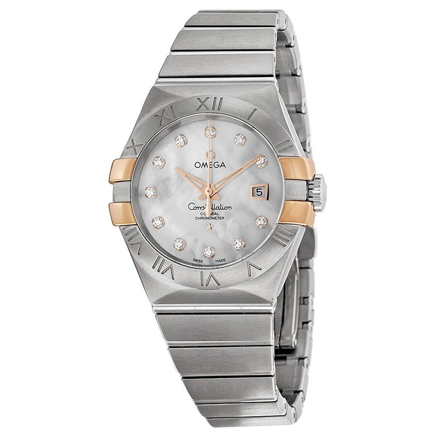 Omega constellation mother of pearl diamond dial ladies watch 12320312055003 constellation for Omega watch constellation