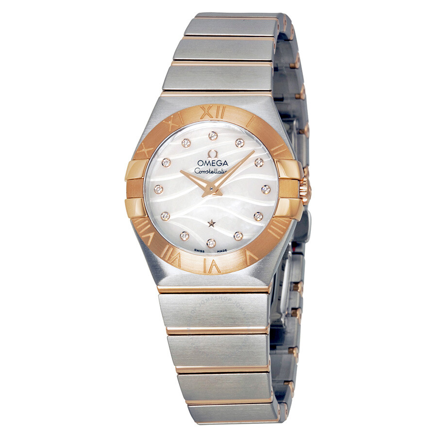 Omega constellation mother of pearl diamond dial steel and rose gold ladies watch for Omega watch constellation