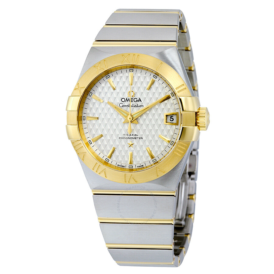 Omega constellation silver griffes dial steel and 18k yellow gold automatic men 39 s watch for Omega watch constellation