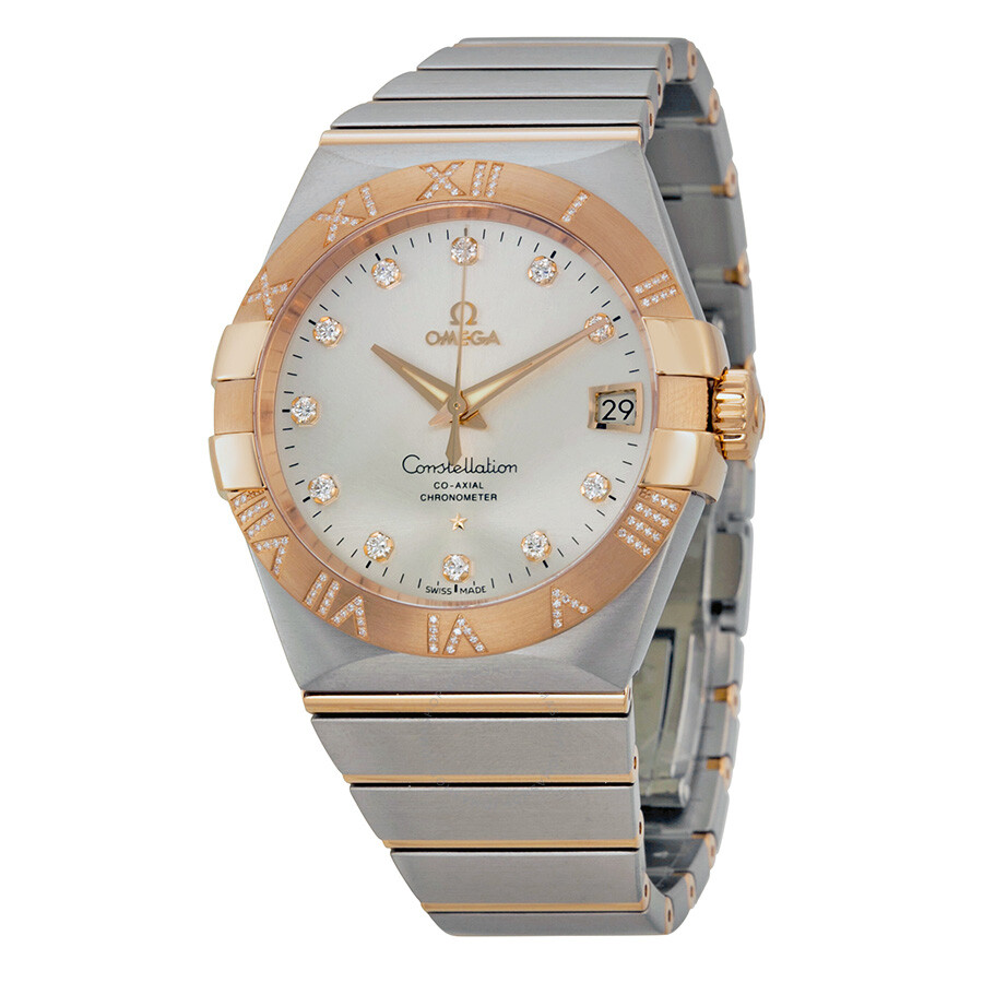 Omega constellation silver dial rose gold and steel diamond men 39 s watch 12325382152003 for Omega watch constellation