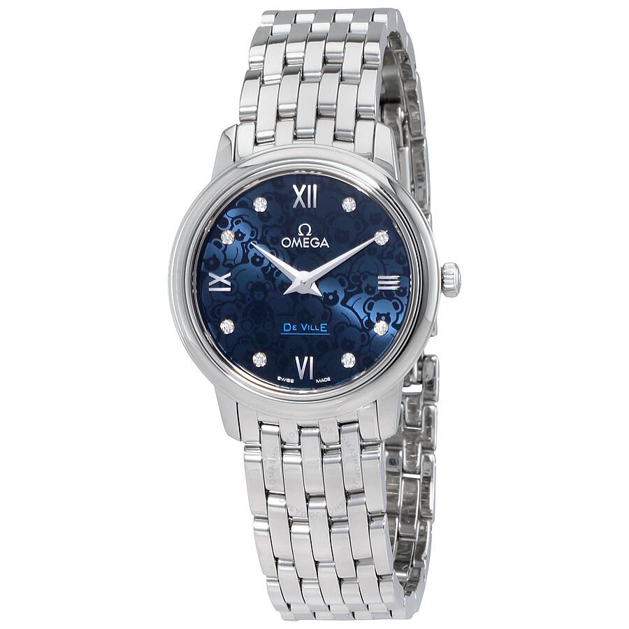 Omega De Ville Blue Dial Diamond Ladies Watch 424.10.27.60 ...