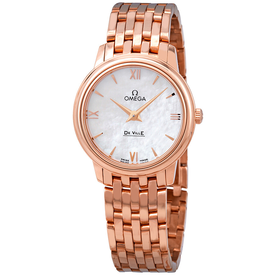 90e6a85746a Omega De Ville Prestige 18k Rose Gold White Mother of Pearl Dial Ladies  Watch Item No. 424.50.27.60.05.002